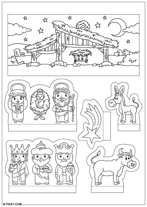Kerststal Figuren Kleurplaten.Kleurplaat Kerststal Figuren Ausmalbilder Weihnachtskrippe