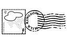 Malvorlage  Briefmarke und Stempel