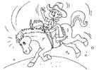Malvorlage  Cowboy auf dem Pferd