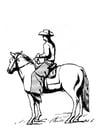 Malvorlage  Cowboy auf Pferd