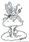 Malvorlage  Fee auf Pilz