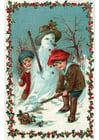 Bild Kinder bauen einen Schneemann