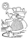 Malvorlage  kochendes Mädchen