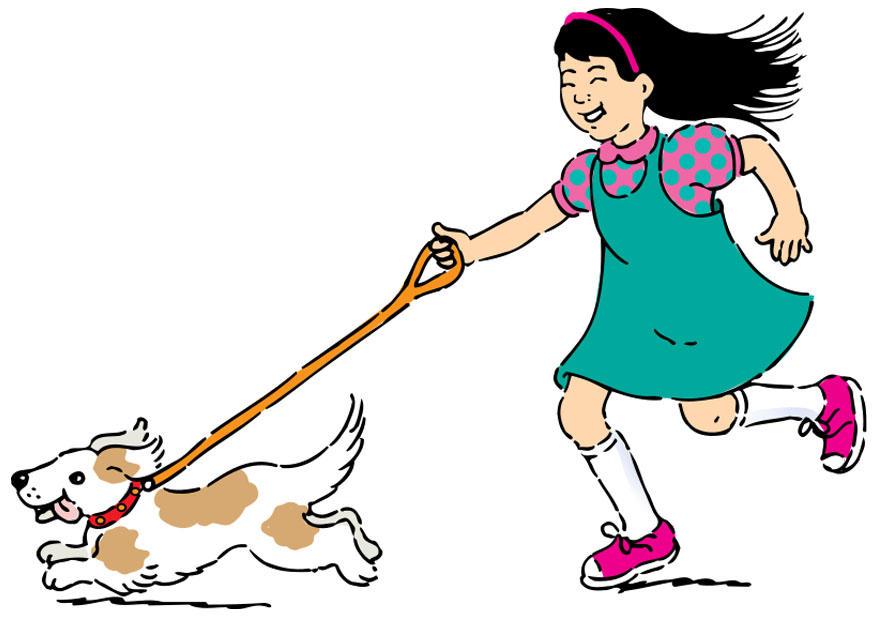 clipart girl walking dog - photo #1