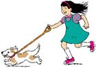 Bild mit dem Hund spazieren gehen