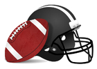 Bild Rugbyball und Helm