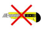 Bild Teppichmesser verboten