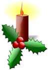 Bild Weihnachtskerze mit Stechpalme