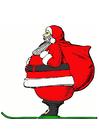 Bild Weihnachtsmann auf Skien