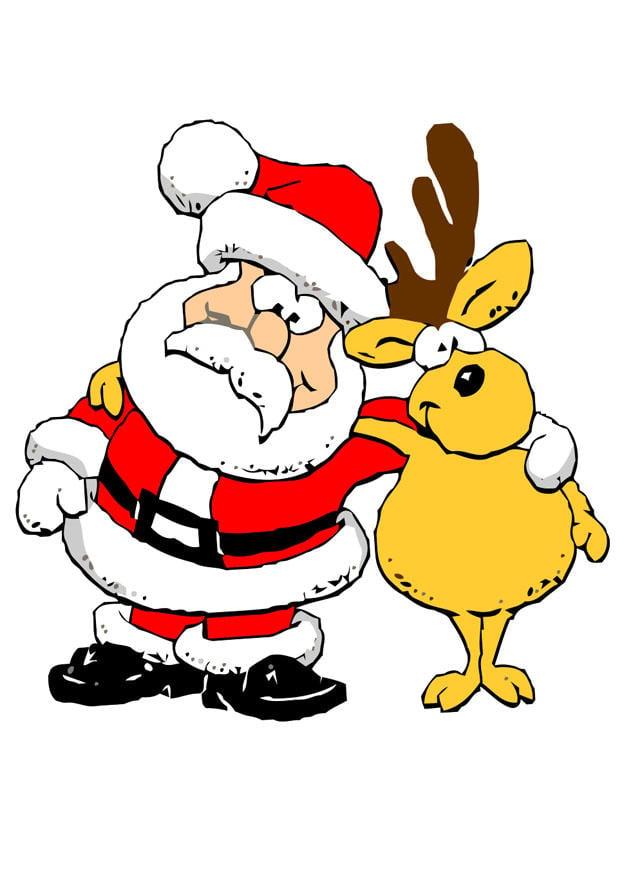 bild weihnachtsmann mit rentier  kostenlose bilder zum