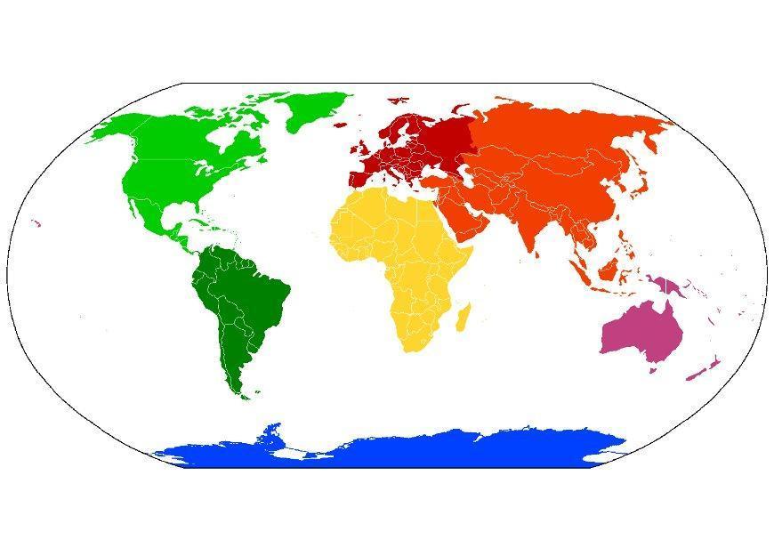 Bild Weltkarte Kontinente   Abb. 8093