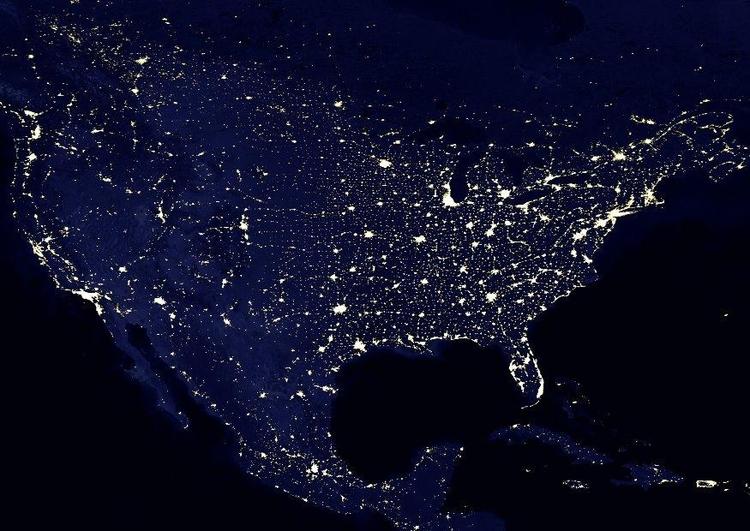 Foto Die Erde Bei Nacht Stadtgebiete Nordamerika Abb 8032