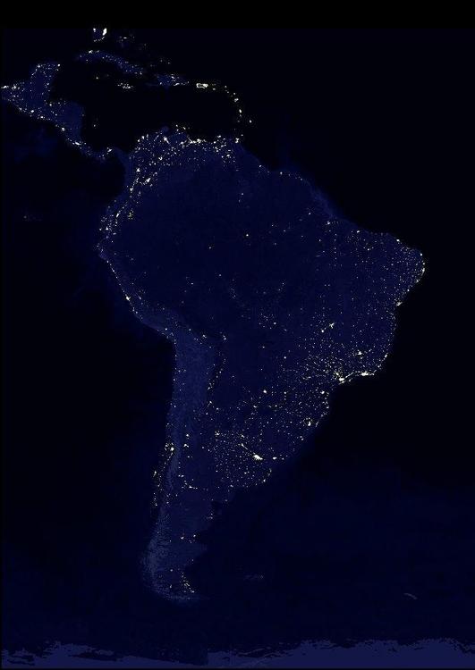 Foto Die Erde Bei Nacht Stadtgebiete Südamerika Abb 8034