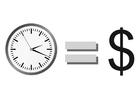 Malvorlage  Zeit ist Geld