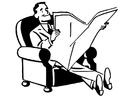 Malvorlage  Zeitung lesen