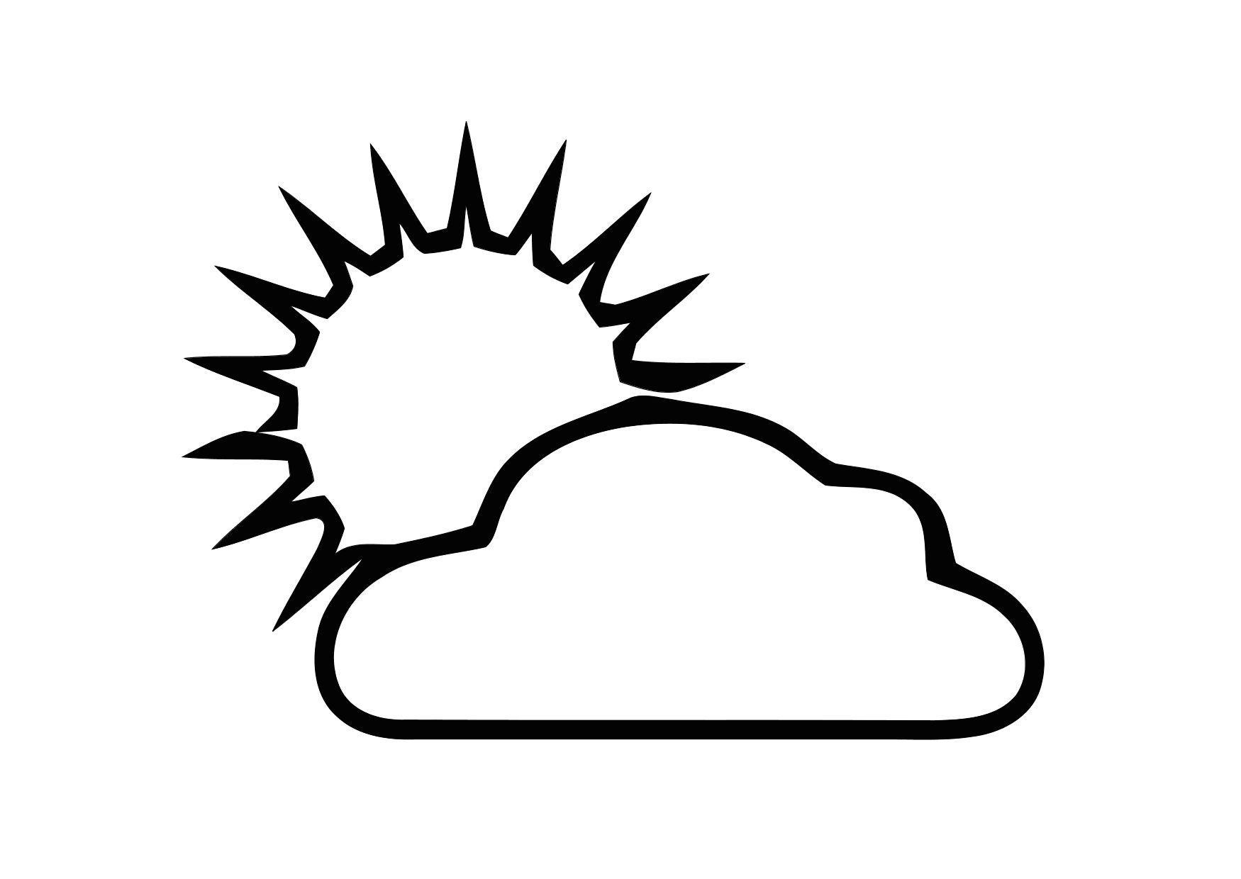 Malvorlage 01a. bewölkt mit Sonne | Ausmalbild 11300.