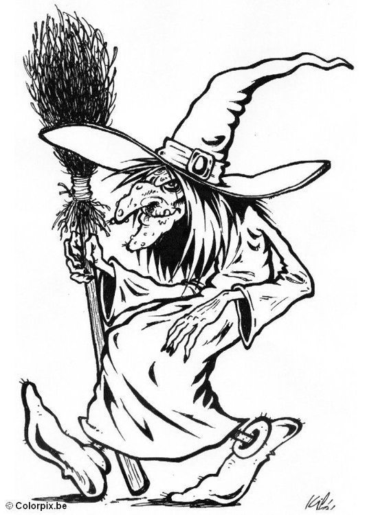 simple witch coloring pages-#19