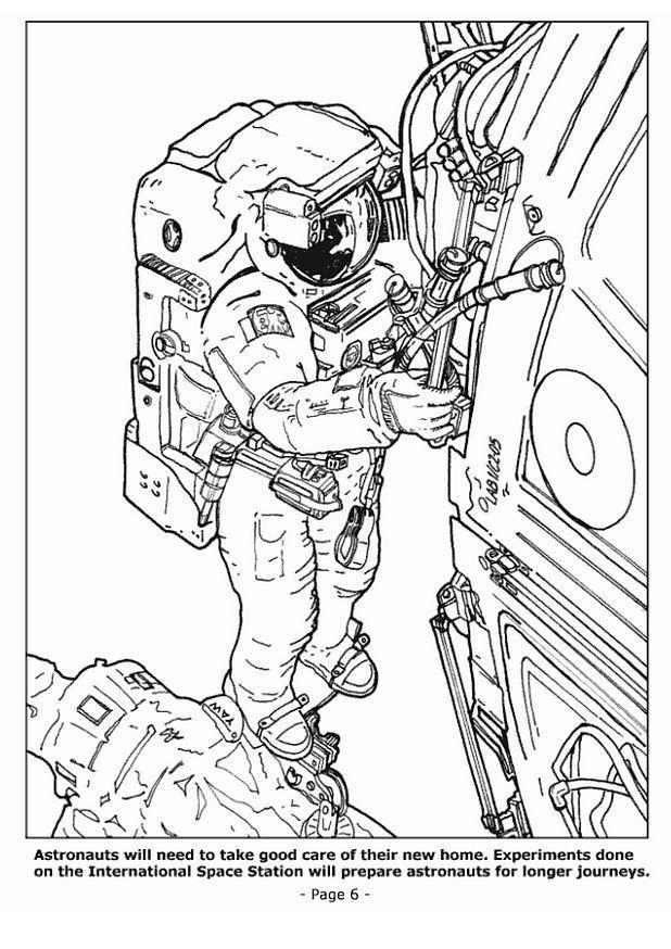 malvorlage 06 astronauten in der raumstation  kostenlose