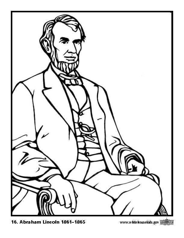Malvorlage 16 Abraham Lincoln | Ausmalbild 12640.