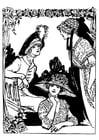 Malvorlage  2 Frauen mit Hüten