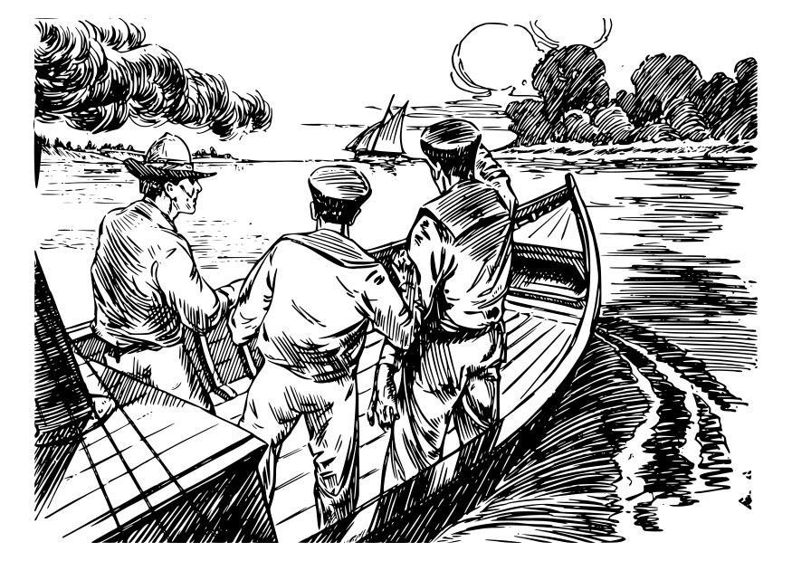 malvorlage 3 männer in einem boot  kostenlose