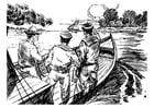 Malvorlage  3 Männer in einem Boot