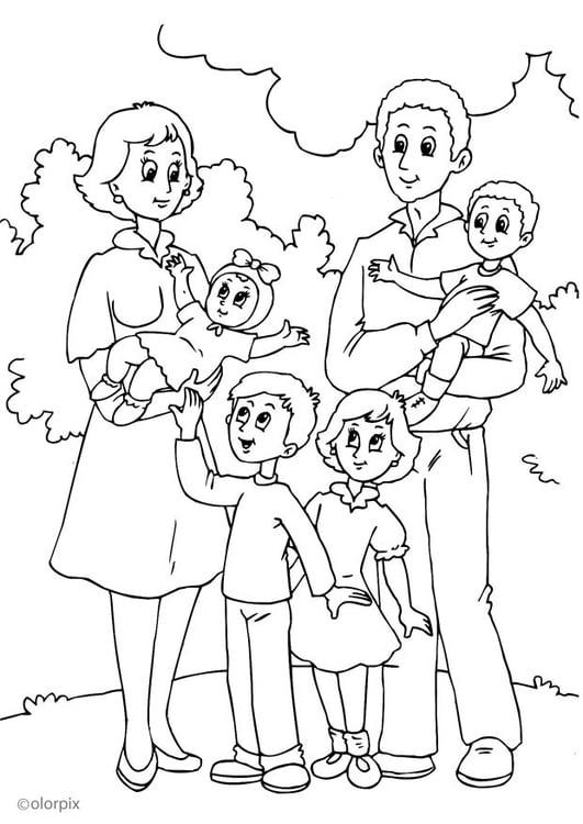 Malvorlage 4. Mutters neue Familie | Ausmalbild 25992.