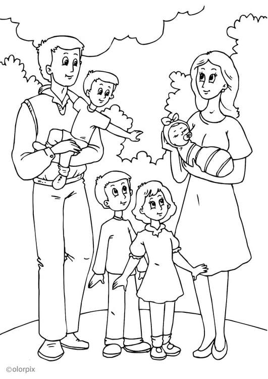 Malvorlage 5. Vaters neue Familie | Ausmalbild 25991.