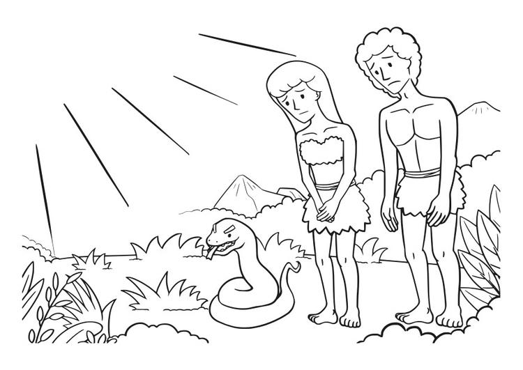 Malvorlage Adam und Eva | Ausmalbild 29833.