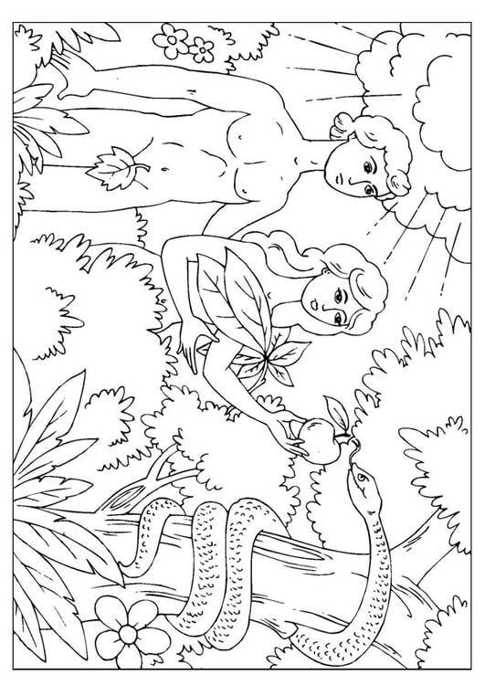 Malvorlage Adam und Eva | Ausmalbild 25966.
