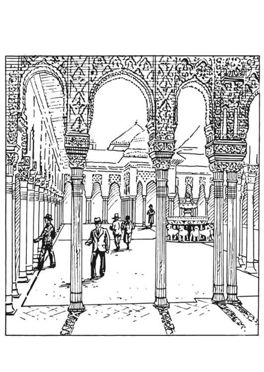 Malvorlage Alhambra, Spanien   Ausmalbild 13211.