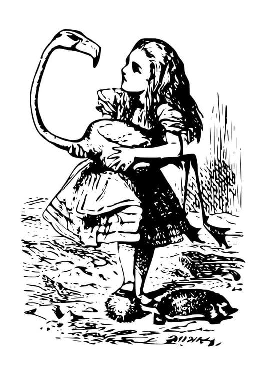 Malvorlage Alice im Wunderland - Flamingo | Ausmalbild 19054.