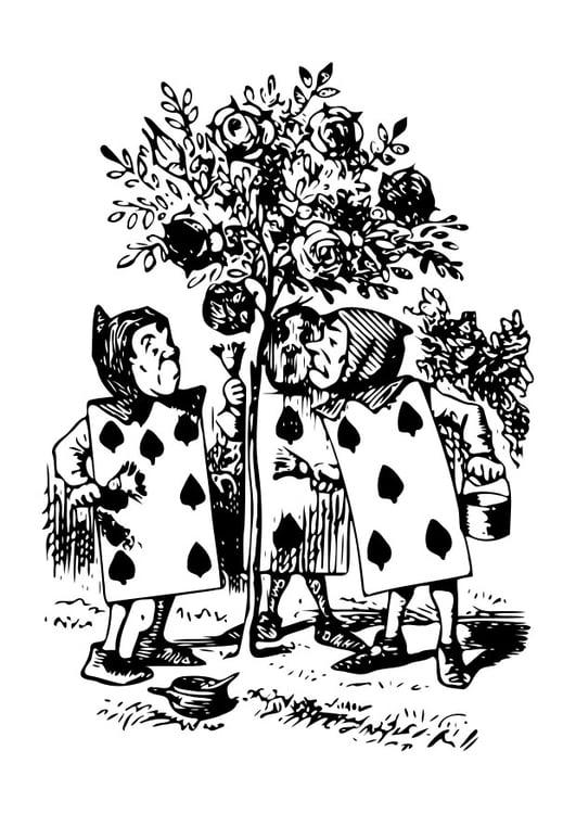 Malvorlage Alice im Wunderland - Kartenmännchen | Ausmalbild 19051.