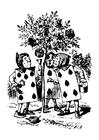 Malvorlage  Alice im Wunderland - Kartenmännchen
