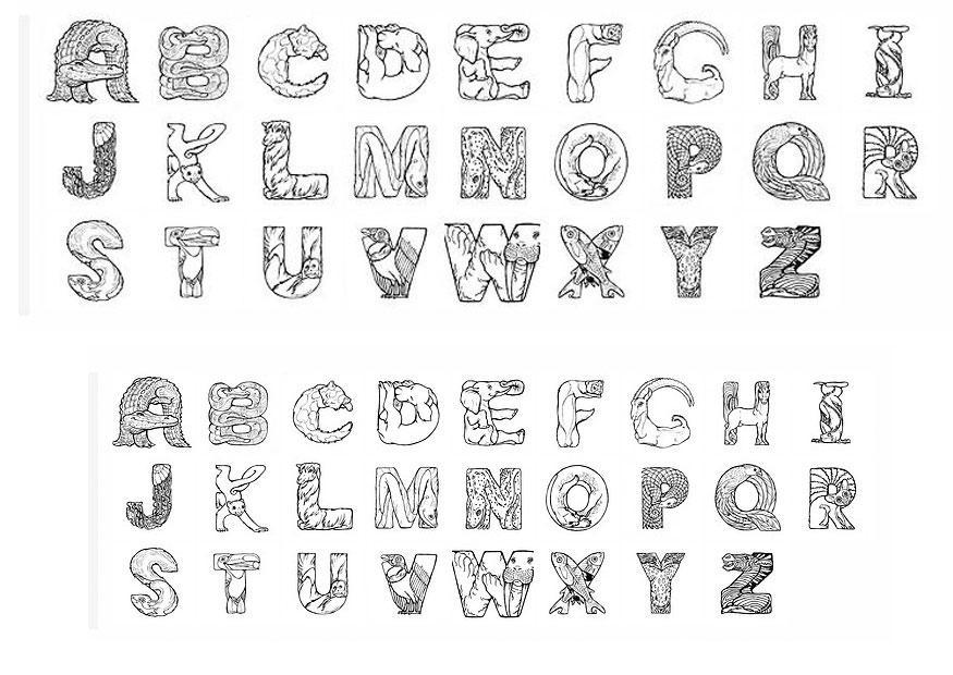 Malvorlage Alphabet | Ausmalbild 24825.