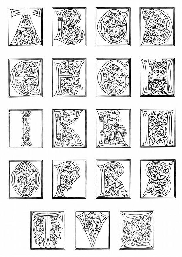 malvorlage 01a alphabet ende 15 jahrhundert  ausmalbild
