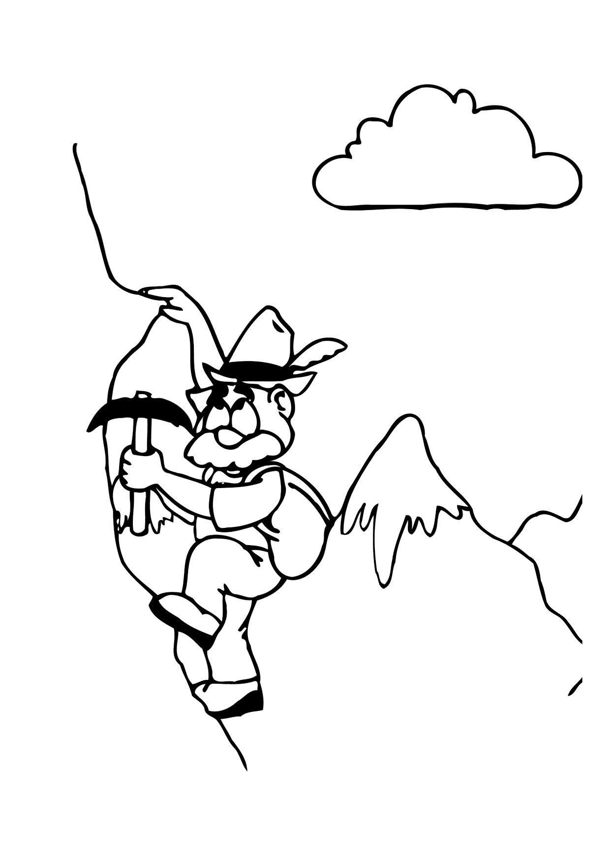 Malvorlage Alpinist | Ausmalbild 12166.