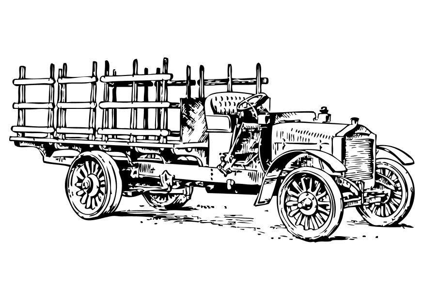 malvorlage alter lastwagen | ausmalbild 10474.