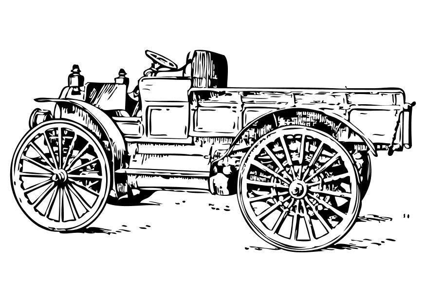 Malvorlage alter Lastwagen   Ausmalbild 18774.
