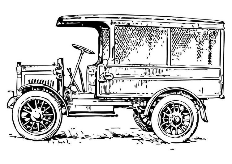 Malvorlage alter Lastwagen | Ausmalbild 10475.