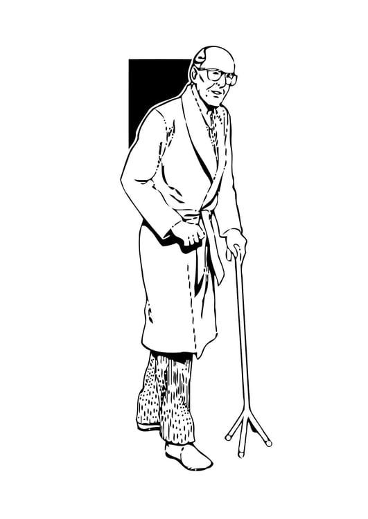 Malvorlage alter Mann   Ausmalbild 11347.