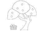 Malvorlage  Apfelbaum mit Apfelkorb