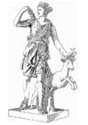 Malvorlage  Artemis, Göttin aus der griechischen Mythologie