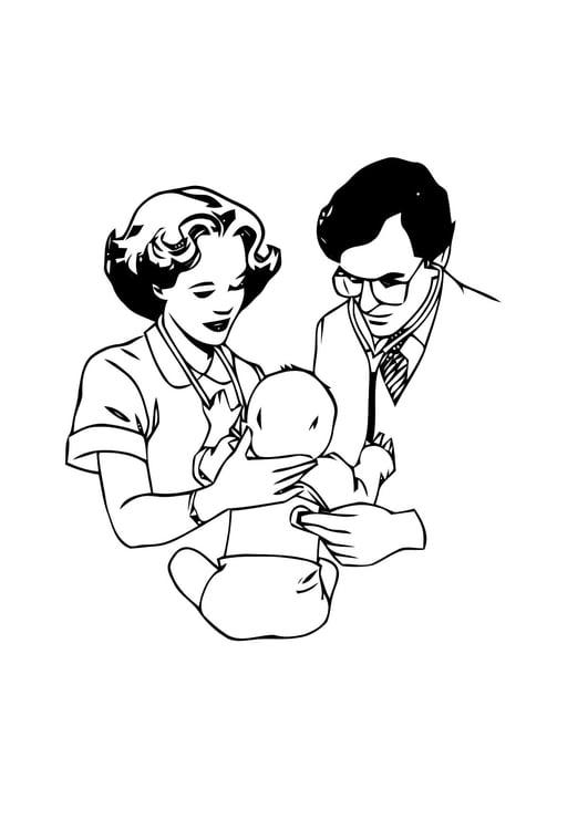malvorlage arzt mit baby  kostenlose ausmalbilder zum