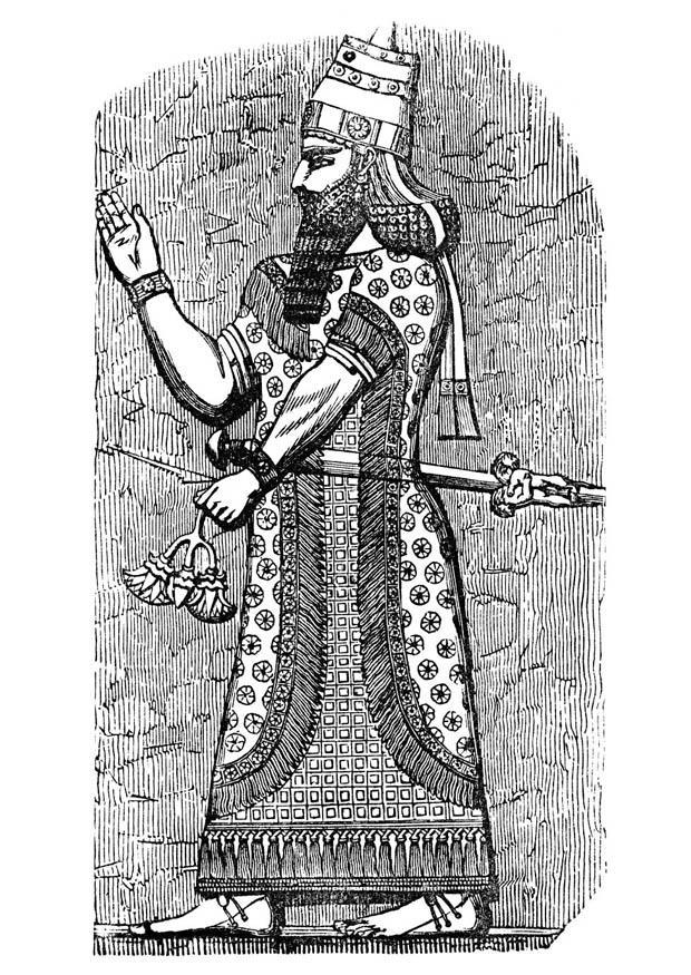 malvorlage assyrischer könig  kostenlose ausmalbilder zum