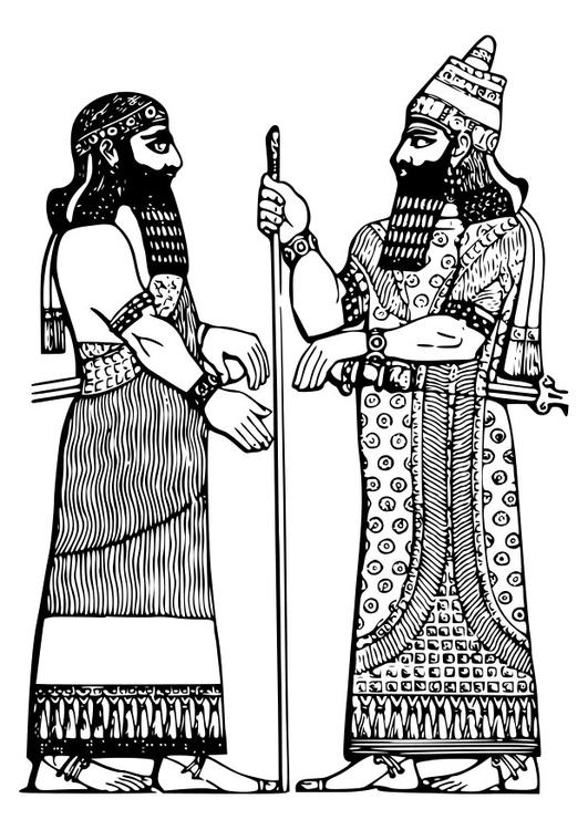 malvorlage assyrischer könig  ausmalbild 27791