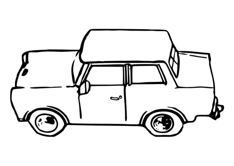 Malvorlage Auto - Trabant | Ausmalbild 29109.