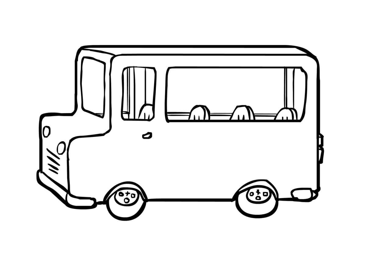 Malvorlage Autobus (2) | Ausmalbild 14961.