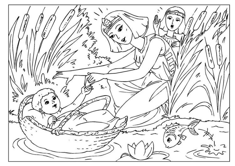Malvorlage Baby Moses | Ausmalbild 26002.