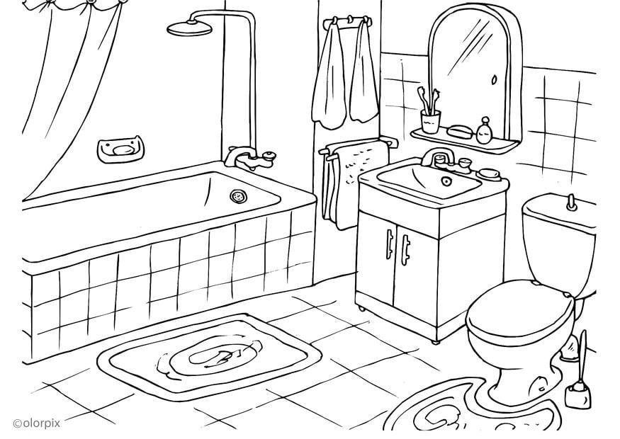 Malvorlage Badezimmer   Ausmalbild 25994.